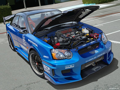 Subaru WRX   Vexel Hood Up by dangeruss