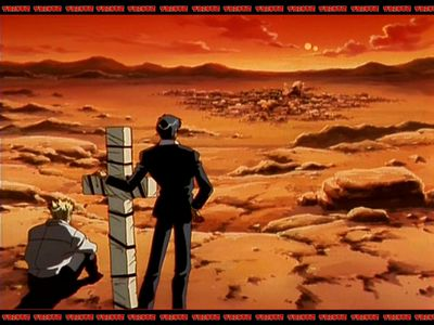Wolfwood and Vash at sunset