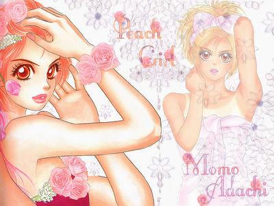 Peach girl flower wallppr