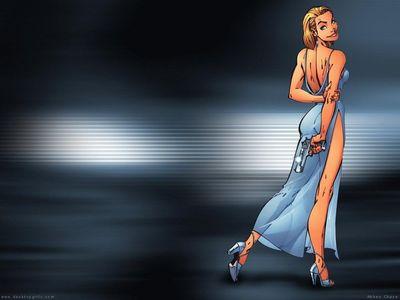 Anime Wallpaper   Woman Back turned   gun
