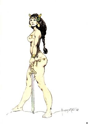 frank frazetta girl with sword