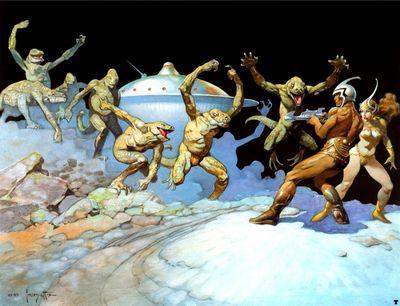 frank frazetta leaping lizards