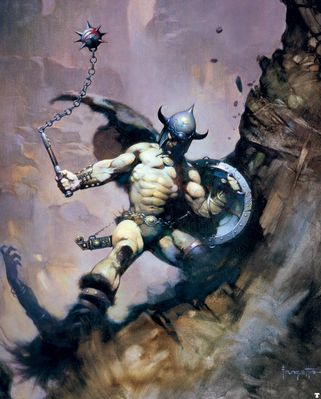 frank frazetta warriorwithballandchain