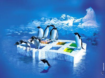 linux tux penguins ice