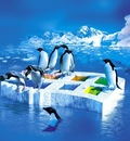 linux tux penguins ice