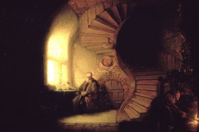 philosopher in meditation, rembrandt,