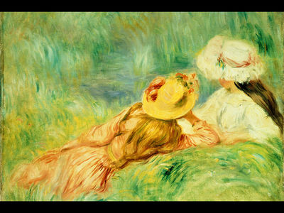 girls on the edge of the water, renoir,