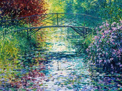 Lily Pond and Japanese Bridge, Byfleet Manor, Surrey, United Kingdom, Charles Neal