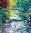 Lily Pond and Japanese Bridge, Byfleet Manor, Surrey, United Kingdom, Charles Neal