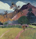 tahitian landscape with a mountain, gauguin,