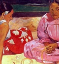 two tahitian women on the beach, gauguin,