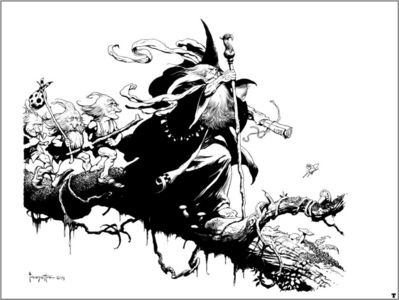 frank frazetta bw lord of the rings III