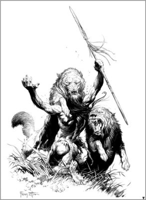 frank frazetta bw tarzan and the earths core