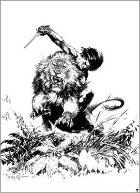 frank frazetta bw tarzankillslion