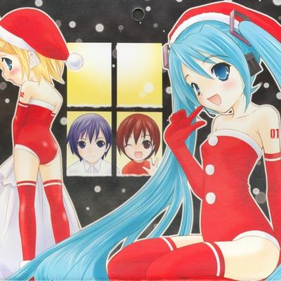 blue hair christmas hatsune miku kagamine rin kaito meiko santa santa hat snow voca~0