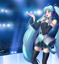 blue hair hatsune miku long hair vocaloid
