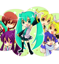 chibi hatsune miku kagamine len kagamine rin kaito meiko vocaloid