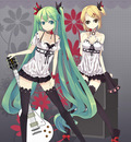 blonde hair flowers green eyes green hair guitar hatsune miku kagamine rin long hai~0