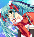 christmas hatsune miku ribbons santa thighhighs twintails vocaloid