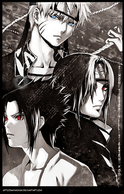 sasuke naruto itachi Conflict  by sakimichan