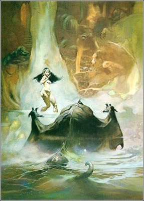 frank frazetta   at the earths core