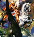 Boris Vallejo   Unicorn V Green Dragon