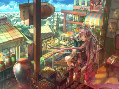 fuji choko japanese clothes kimono long hair original pink eyes pink hair