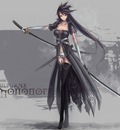 katana long hair sword weapon