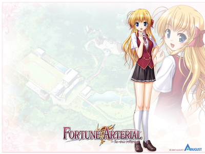 blonde hair blue eyes fortune arterial school uniform smile thighhighs
