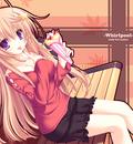 bench blonde hair meri chri mikagami mamizu purple eyes seiya mashiro skintight skirt
