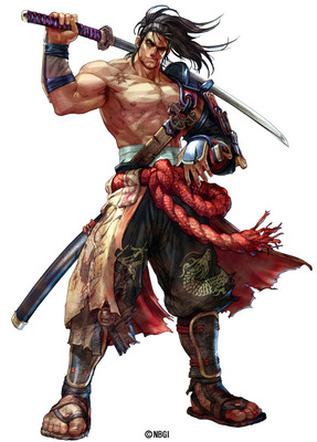 soul calibur iv mitsurugi official art samurai chinese dragon weapon sword katana armor torn wind muscle big manly bear