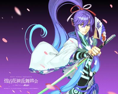 hidari left side vocaloid Vocalonexus vocaloid kamui gakupo samurai sword katana ponytail elegant fan digital petals