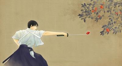 rien sonidori rein  pixiv japanese clothes samurai sword katana flowers pose stance cool genius stunning