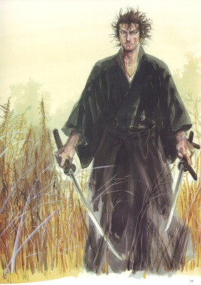 takehiko inoue vagabond samurai japanese clothes sword katana dw blood weeds straw grass