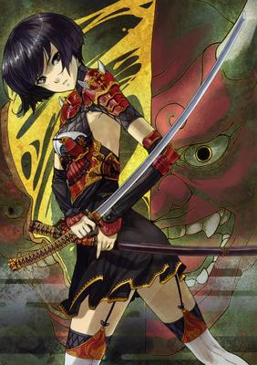 shimotsuki eight Moeru Nihoutou Daizen artbook female samurai sword katana garter belt thin thighhighs armor asian