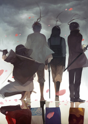 nineo pixiv gintama samurai sword japanese clothes wind cool pose cherry blossoms reflection
