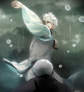 ich38 138 pixiv gintama sakata gintoki battle rain storm weather storm water drops action samurai angry japanese clothes perspective