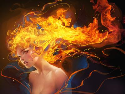fire vampire by sakimichan d4qgfia